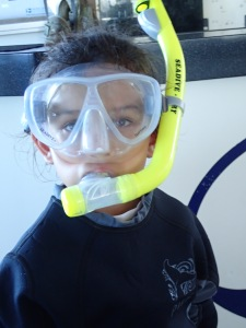Elanor getting ready to snorkel